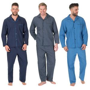 Mens Plus Size Woven Pajama Set Shirt Trousers Nightwear Big Tall Plain Classic