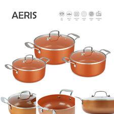 3pc Non Stick Casserole Stock pot Set Oven Safe INDUCTION Cookware Copper AERIS