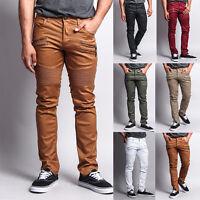 Victorious Men's Skinny Fit Coated Biker Jean zipper Moto Pants DL1030-T21E