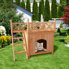 New listing �Pet Wooden Cat House Living House Kennel With Balcony Wood Color pets house