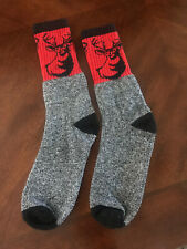 Brand New Gray, Red & Black Deer Buck Crew Socks Size Mens Small