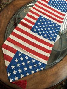 """Patriotic Decor 4th of July Table Runner 71""""x 14"""" Tapestry Stars Stripes USA"""