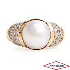 David Yurman Diamond Mabe Pearl Sterling Silver 18K Gold Cluster Ring 7.8 GramNR