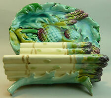 Victorian LUNEVILLE francese maiolica ceramica piatto per asparagi & Stand c.1880