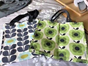 2 x ORLA KIELY CANVAS TOTE SHOPPING BAGS