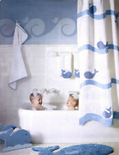 New in Package Pottery Barn Kids Blue Whale Bath Collection Shower Curtain New