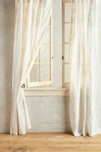 """ONE (1) 50x84"""" Anthropologie Embroidered Tessara Cotton Voile Curtain Panel NWT"""