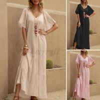 ZANZEA UK Womens Summer Short Sleeve Tiered Sundress Flare Swing Long Maxi Dress