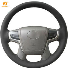 Black Genuine Leather Steering Wheel Cover Wrap for Toyota Land Cruiser 2016