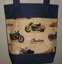 NEW Large Denim Tote Bag Gift Handmade/w Indian Motorcycle Fabric
