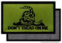 DONT TREAD ON ME GADSDEN FLAG PATCH AMERICAN GREEN w/ VELCRO® Brand Fastener
