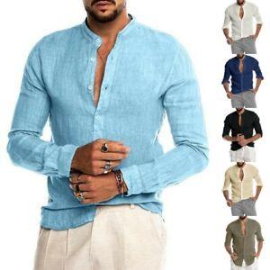 Mens Long Sleeve Cotton Linen T-Shirt Loose Button Kaftan Blouse Casual Tops UK