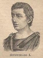 A0123 Giustiniano I - Stampa Antica del 1907 - Xilografia