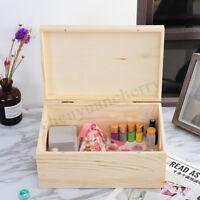 Portable Pine Wooden Storage Box Case Jewelry Ornaments Home Room Organizer