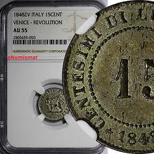 Italian States VENICE-REVOLUTION Silver 1848-ZV 15 Centesimi NGC AU55 KM# 801