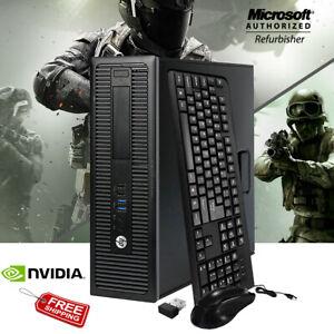 HP 800G1 SFF Gaming Desktop PC 16GB 256GB SSD Nvidia GT1030 HDMI 3.3Ghz Computer