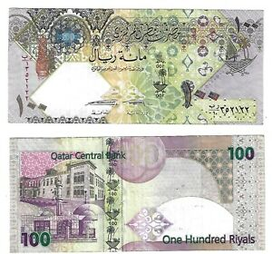 QATAR 100 RIYALS P26b 2007*REPLACEMENT POLYMER HYBRID USED BILL NOTE - 1 Piece