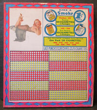 VTG HAVE A SMOKE PUNCHBOARD UNPUNCHED PIN-UP CIGARETTES 1 CENT MARYLAND MAN CAVE