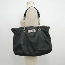 Furla Tote Bag Purse Black Pebble Leather Chain Strap Extra Large Handbag Italy