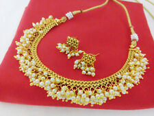 gold plated traditional Necklace set Indian fashion jewelry Bollywood ethnic