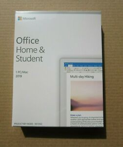 Retail Boxed Sealed PC Microsoft Office Home & and Student 2019 UK Word Excel