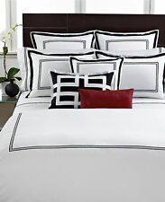 Hotel Collection Bedding Tuxedo Embroidery Cal King Bedskirt White/Black F1075