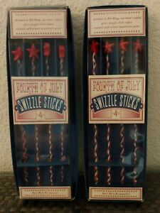 4th of July Patriotic Stars Glass Swizzle Sticks 2 Sets of 4 William Sonoma