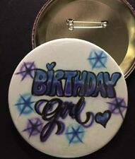 "Blue and Purple *BIRTHDAY Girl*  PIN-BACK BUTTON- LARGE 3.5"" DIAMETER"