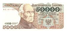 Poland 50,000 50000 ZLOTYCH 1989 P 153 UNC