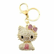 White and Pink Hello Kitty Rhinestone  Crystal Charm Purse Key Chain