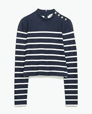 Zara Long Sleeve Striped Cropped Tops & Shirts for Women