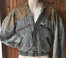 Vtg Guess Jeans Georges Marciano 2 Tone Denim & Leather Men's Small Jean Jacket
