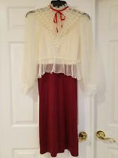 Vintage 2 Pc Burgundy & Ivory Dress w Sheer Lace Blouse Jacket