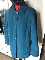 ISLE Ladies Teal Green Microfibre Padded Quilted Collared Jacket Size 16