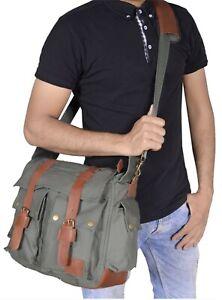 "Men's Military Canvas Leather Satchel School 14.1"" Laptop Shoulder Messenger Bag"