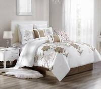 3PC DUVET BED COMFORTER COVER SET WHITE TAUPE TAN EMBROIDERY FLOWERS BRENDA#13