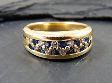 18ct Gold  Diamond & Sapphire Double Row Channel Set  Ring