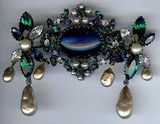 SCHREINER VINTAGE RHINESTONE BLUE & GREEN GLASS CABOCHONS DANGLE PEARL PIN