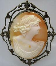 Vintage Antique 800 Silver Carved Female Profile Cameo Pin Brooch & Pendant in 1