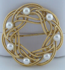 14K GOLD 7 ROUND PEARL 4mm FLOWER BROOCH LEAF LAPEL PIN