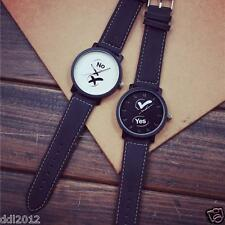 Fashion Mens Womens Leather Band Quartz Analog Couple Watch Sister watches New