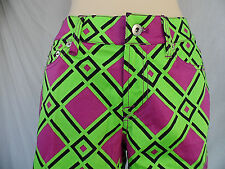 Loud Mouth Golf Womens Long Pants Neon Green & Fuchsia Multi Color Size 4 New