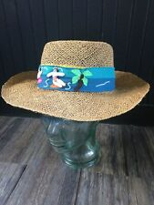 Vintage straw hat with embroidered/quilted tie/band. Very cute!
