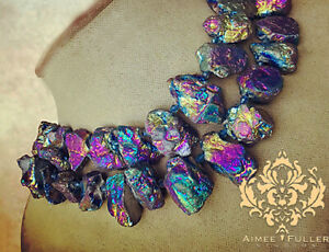 CHUNKY Rainbow Prism Titanium Agate Necklace Statement Purple Blue XL Jewelry
