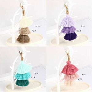 Three Layer Pom Colorful Tassel Handbag Accessories Keychain Bag pendant