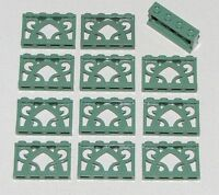 LEGO LOT OF 12 NEW SAND GREEN 1 X 4 X 2 ORNAMENTED FENCES PIECES