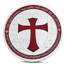 Europe Knights Templar Red Silver Plated Cross Token Souvenir Coin Collection