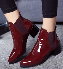 Sz35-40 Womens Patent Leather Chunky Heel Pointed Toe Pull On Ankle Boots Shoes