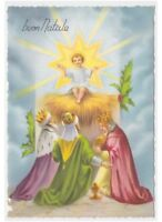 re magi nativity Jesus Child stella card 60's Natale greeting cards vintage