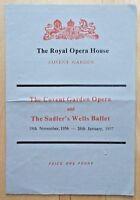 Royal Opera House Covent Garden Opera & Sadler's Wells Ballet Nov 1956- Jan 1957